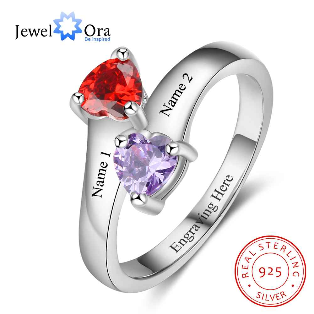 personalized heart birthstone custom engrave 2 names promise ring love 925 sterling silver anniversary gift jewelora ri103269 Personalized Promise Rings Heart Birthstone Custom Engrave 2 Names 925 Sterling Silver Jewelry Gift For Her (JewelOra RI103267)