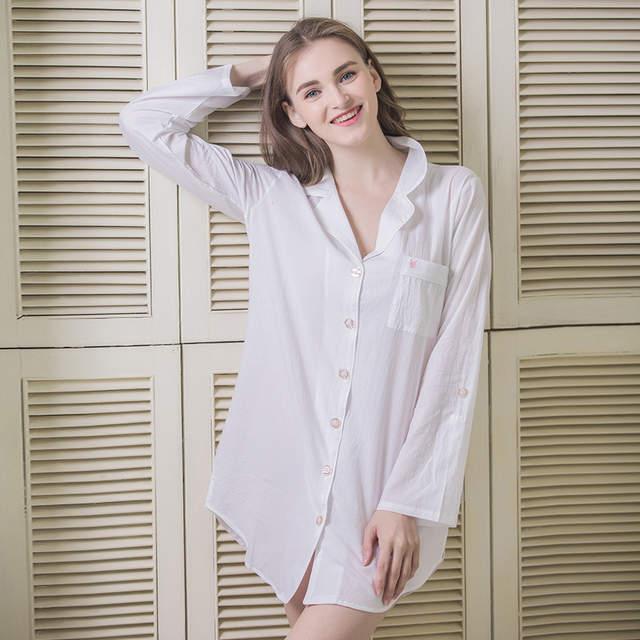 47adeb565a New White Cotton Shirt Short Nightgown Long sleeves Chemise Nightdress Women  Pyjamas sexy sleep dress Sleepshirts. placeholder ...