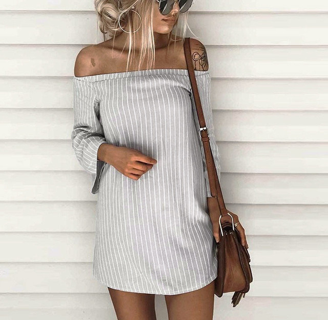 248b86381403 2019 New Summer Striped Dresses Women T-Shirt Dress Slash Neck Off-shoulder  Bodycon Dress Vestidos Listrado Curto Cheap Femme
