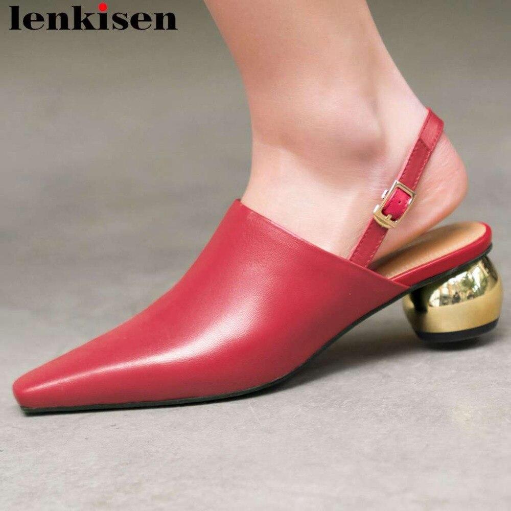 Lenkisen luxury sheep leather buckle strap metal med heels slingback women pumps square toe elegant lady