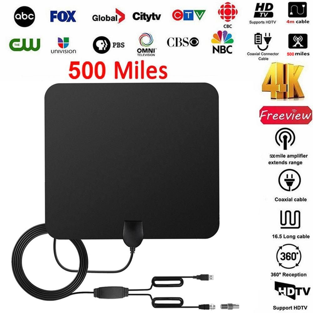 500 Miles Indoor TV Antenna ATSC HD Indoor UHF/VHF/1080p 4K Digital HDTV Supporting F-switch IEC Conversion With Signal Booster