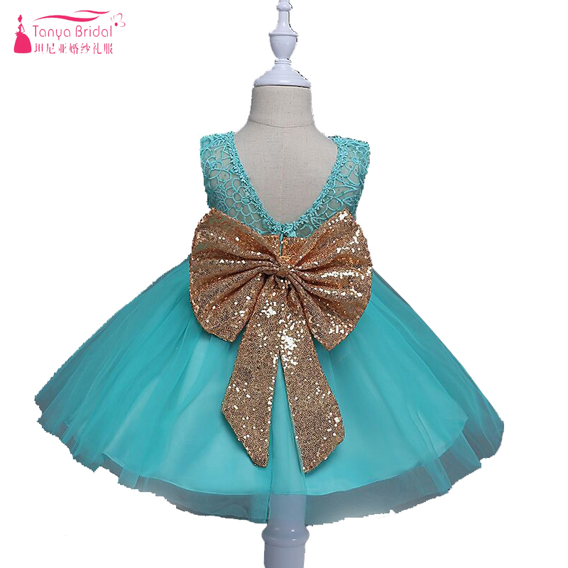 Mint Green Pink White Cute Little Girls communion dresses Important Party Gowns Lace With Big Sequined
