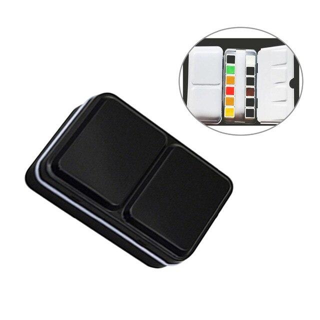 Caja de acuarela sólida vacía caja de lata para 12 colores artista dibujo pintura caja paleta pintura arte suministros para la escuela de niños estudiante