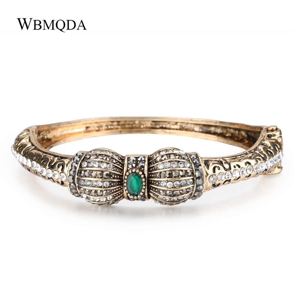 Hot 2018 Vintage Bowknot Antique Gold Bangle Fashion Crystal Bohemian Cuff Love Bracelets & Bangles For Women Indian Jewelry bangle