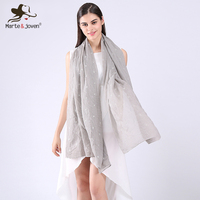 Marte&Joven Simple Design Pure Color Star Shape Embroidered Scarves Pashmina for Women Lightweight Beautiful Long Scarf Stole