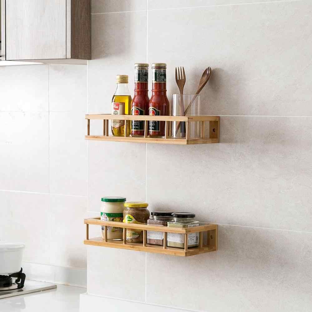 Бамбуковая кухонная полка для хранения на стене Дырокол Бесплатная настенная подвесная емкость для приправ деревянная декоративная полочки-органайзеры