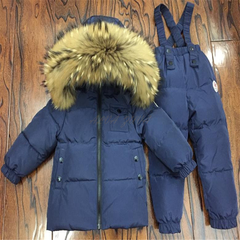 Children raccoon fur collar Jackets+Pants 2Pc/Sets Kids Down Clothing Sets Boys Girls Warm Ski Sets Waterproof Windproof Clj036