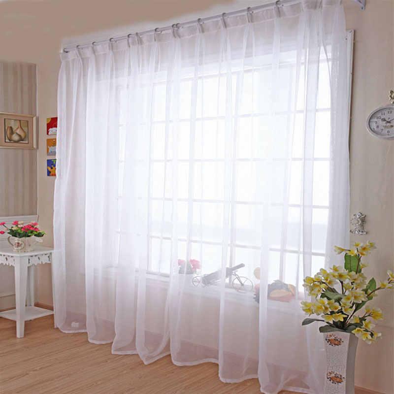 Кухня Тюль Шторы просвечивающие Современный домашний декор для окна белые прозрачные шторы для Гостиная один Панель B502
