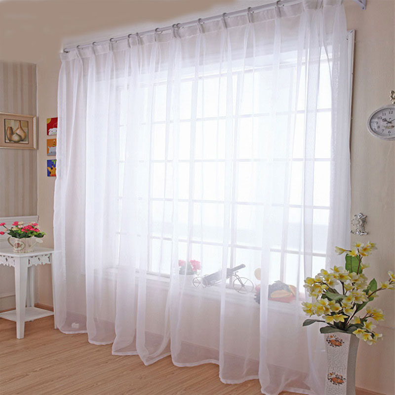 Cocina de tul cortinas Translucidus casa moderna decoración de la ventana gasa blanca pura cortinas para habitación de Panel único B502