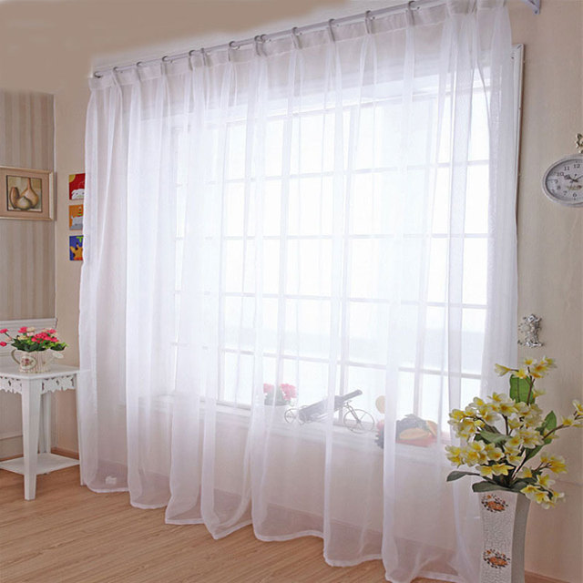 Kitchen Tulle Curtains Translucidus Modern Home Window Decoration White Sheer Voile For Living Room Single