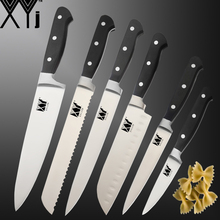 XYj Stainless Steel Kitchen Knives Set Chef Bread Knife Slicing Santoku Meat Cleaver Utility with ABS Handle