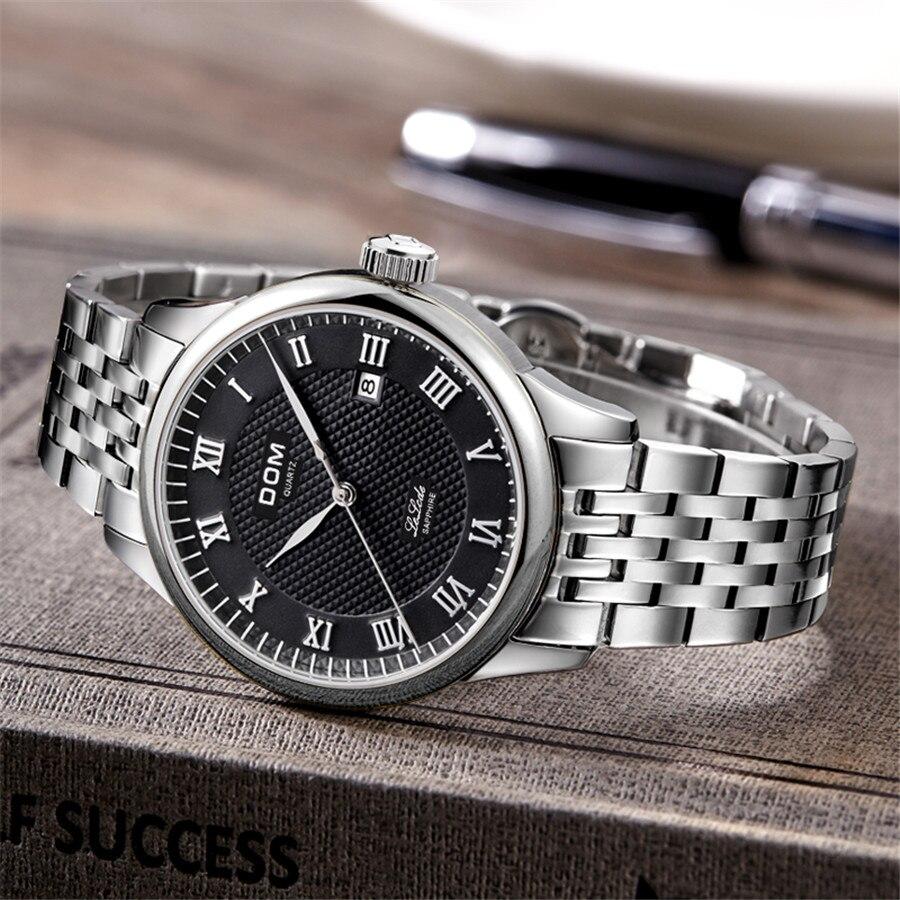 DOM cuir hommes montre 2018 Top marque de luxe célèbre Auto Date montre-bracelet mâle horloge étanche montre à Quartz Relogio Masculino - 4