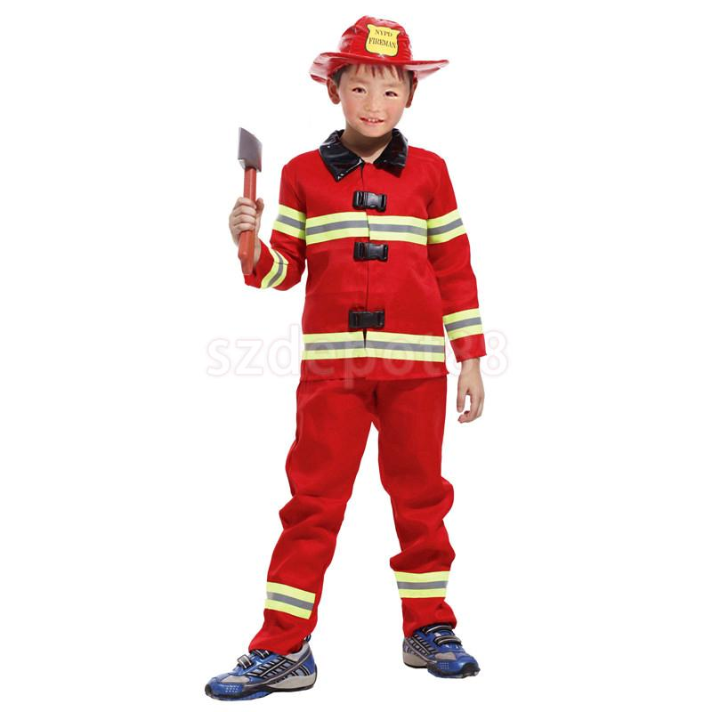 kids boys red firefighter suit halloween party role play christmas fancy dress fireman hat costume uniform outfit - Fireman Halloween