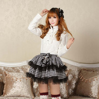 Black Punk Lolita preppy style black and white plaid skirt double layer short skirt punk bow tie lace double layer mini skirts