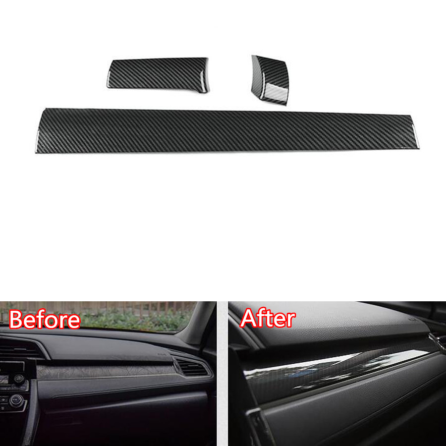 YAQUICKA Carbon Fiber Style ABS Car Central Console Dashboard Panel Strips Trim Cover Styling For Honda Civic 2016 2017 LHD car carbon fiber color abs interior mouldings inner gear shift covers panel trim decal for honda civic 2006 2011 mt car styling