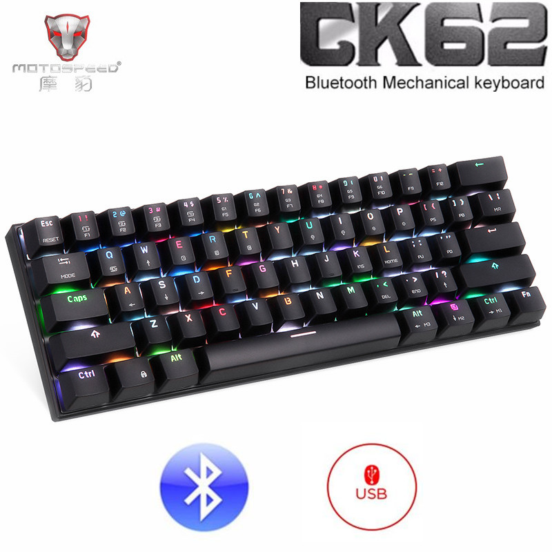 Motospeed CK62 Wireless Bluetooth Mechanical Keyboard RGB Backlit USB Wired Gaming Keyboard 61 Keys Teclado Gamer PK CK104 k61 61 key rgb bluetooth wired multi device mechanical keyboard brown switch