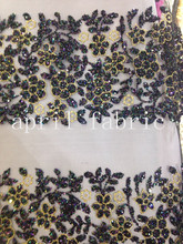 5yards HLL074 gold black flower glitter hand print african india mesh fabric  for wedding evening dress e5545fb48a3e