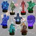 Free Shipping 1Piece Marvel Civil War Captain America Iron Man Color Changing Light Remote Controlled 3D Illusion Bulbing Lamp