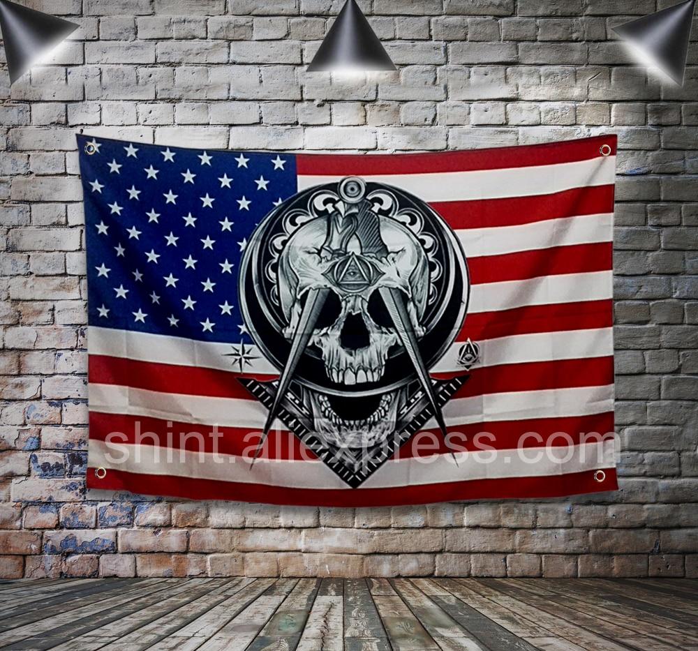 Freimaurer Flagge Banner Polyester 144*96 cm Hängen an der wand 4 ...