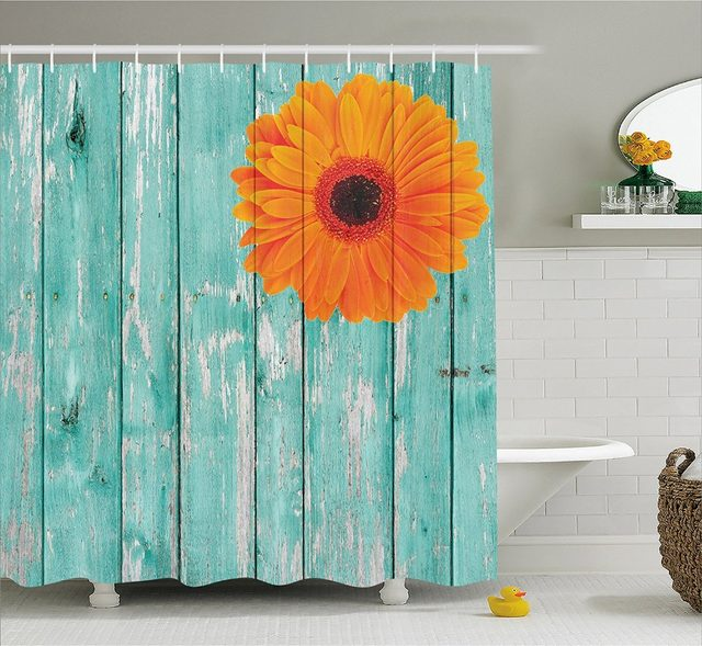 Modern Arts Shower Curtains Rustic Planks Barn House Wood And Nails Printing Decorative Polyester Fabric Bathroom