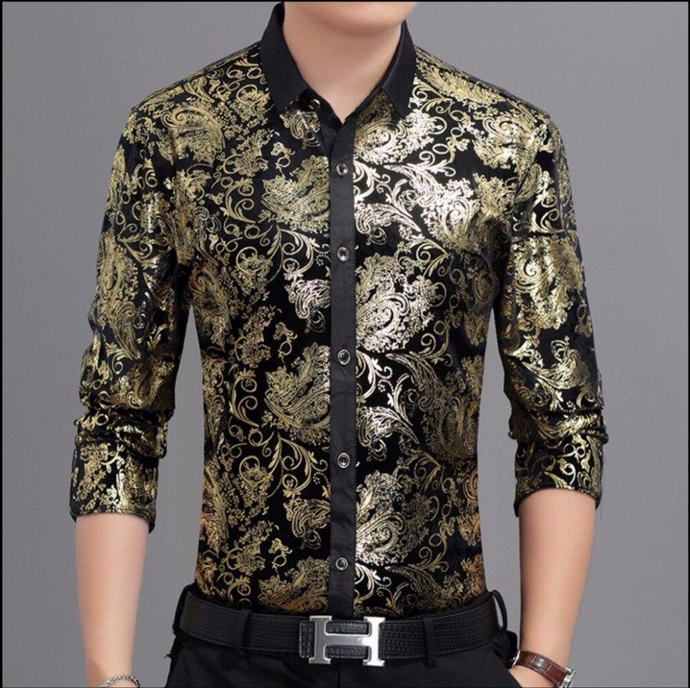 M-3XL automne et hiver vêtements pour hommes épaissir chaud impression chemise à manches longues Slim plus velours chemises décontractées or velours chemise