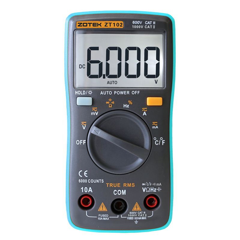 ZT102 Multimeter 6000 counts Back light AC DC Ammeter Voltmeter Ohm Frequency Diode Temperature