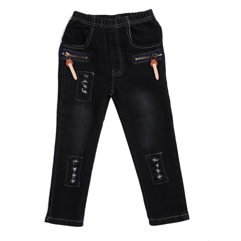 Children Fashion Boys Jeans Cool Zipper Elastic Slim Denim Long Pants Black Children Trousers Boys Kids Clothing