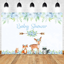 Neoback Baby Shower Photography Backdrop Animal Cartoon Blue Flower Newborn Photo Background Arrow Deer Fox Squirrel Bird