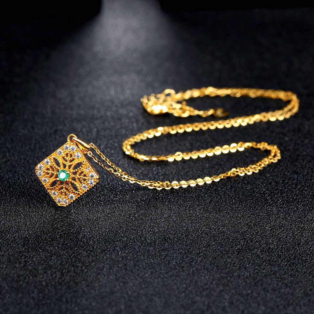 Bwellธรรมชาติมรกตพรรคสร้อยคอและจี้เครื่องประดับFineเงินแท้925 14พันเหลืองทองสำหรับผู้หญิงBWNI056
