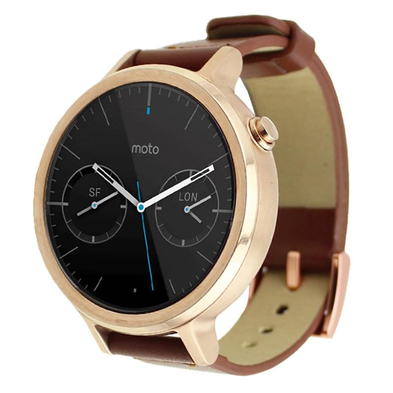 где купить YCYS-Leather Watch Band Wristwatch Strap For Motorola Moto 360 2nd 42mm*16mm/Brown дешево