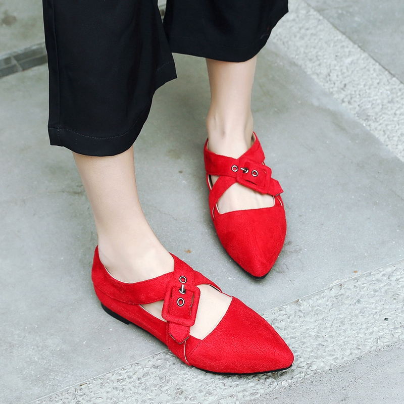 Aliexpress.com   Buy Girseaby Women Flats Loafers Shoes Spring Autumn Flock  Sexy New Fashion Pointed Toe Buckle Strap Casual Office Shallow F179 from  ... ee55443f4da9