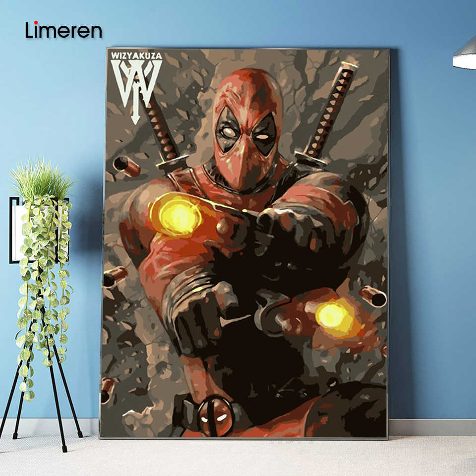 Picture On Wall Acrylic Deadpool Avenger oil Painting Drawing By Numbers Abstract Gift DIY Amazing Coloring By Numbers Canvas