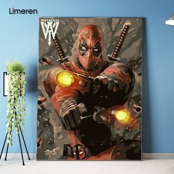 벽에 그림 아크릴 deadpool 복수 자 유화 번호로 그리기 추상 선물 diy 놀라운 색칠 번호 캔버스