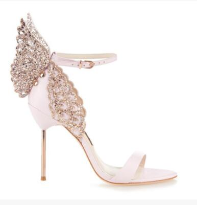 The New Spring Summer Sandal 2016 Fashion Sexy Cut-Outs Butterfly Rivets Leather Thin High-Heeled Ankle Strap Women Shoes