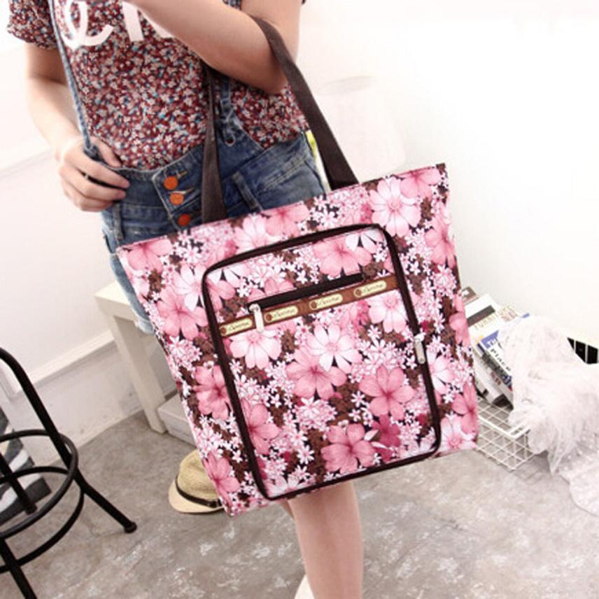 Женская мода нейлон печатных сумка Для женщин Сплошной Цвет для отдыха на молнии сумка хозяйственная сумка # F
