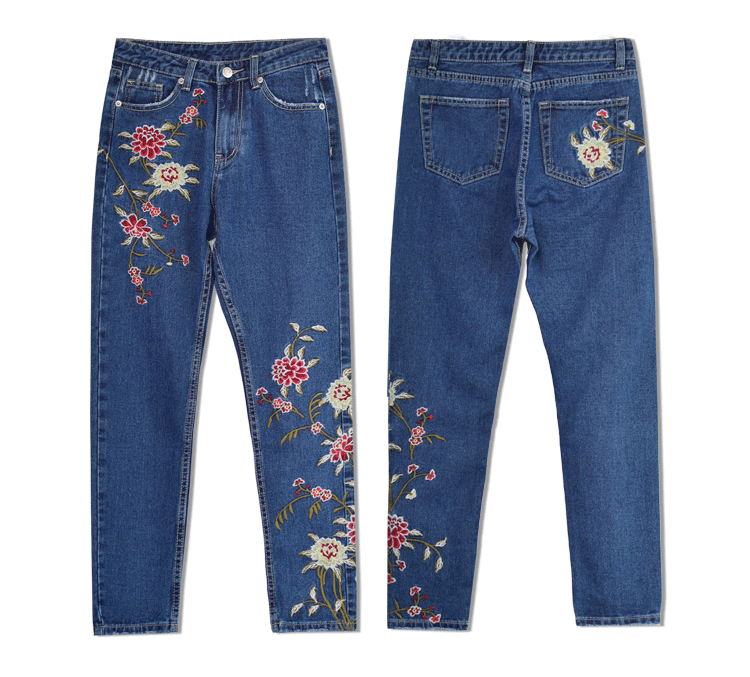 592a4cee5a28 ... 2017 European and American women 3D stereo front and rear side  embroidery high waist Slim cowboy ...