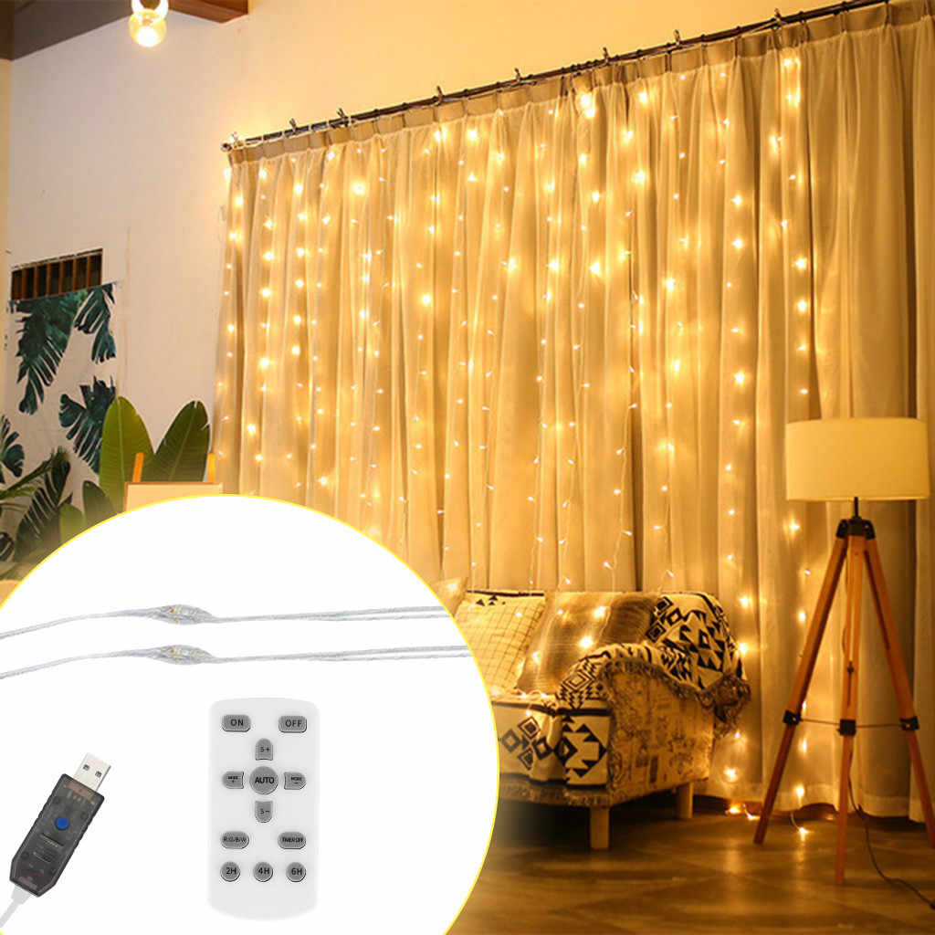 3x3 Meters 300LED 1 PC LED Window Curtain Lamp String Fairy Lights White For Wedding Party Decor USB Remote Control Light JULY2