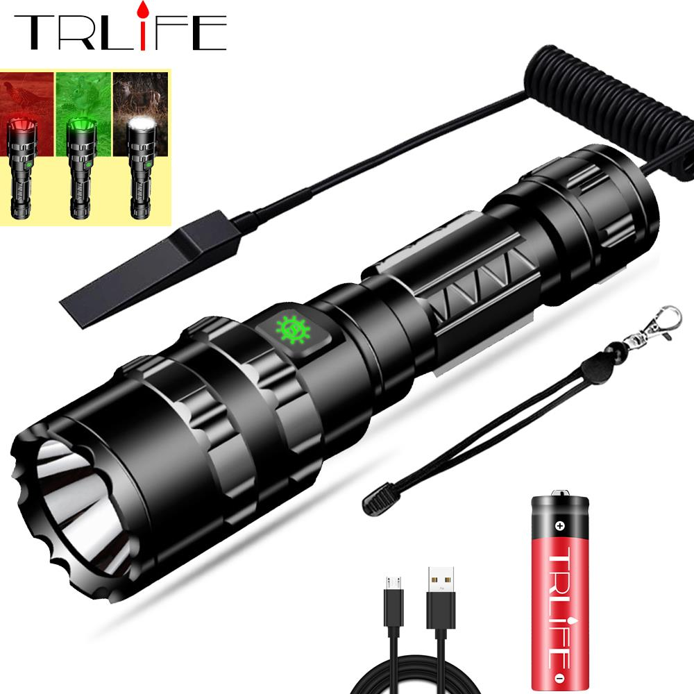 65000Lums Red/Green/White Tactical Flashlight LED Scout L2 Ultra Bright Hunting Light USB Rechargeable Waterproof Torch by 18650