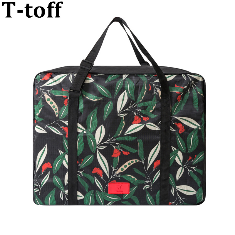 کیسه های سفر جدید تاشو کیسه های چاپی گل ضد آب با ظرفیت بزرگ کیف های قابل حمل زنان قابل حمل کیسه های سفر زنانه