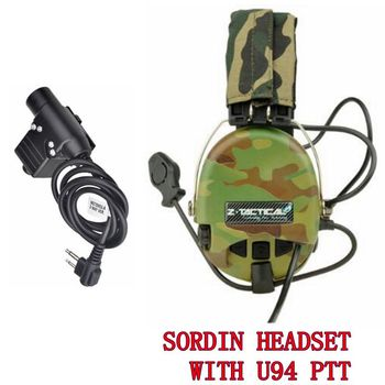 Z-Tactical Airsoft Peltor Sordin Headsets Noise Canceling Aviation Earphones with U94 PTT for midland Softair Camouflage Z111-MC