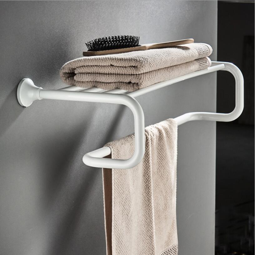 Bathroom Bath Towel Rack Brass Material White Painted