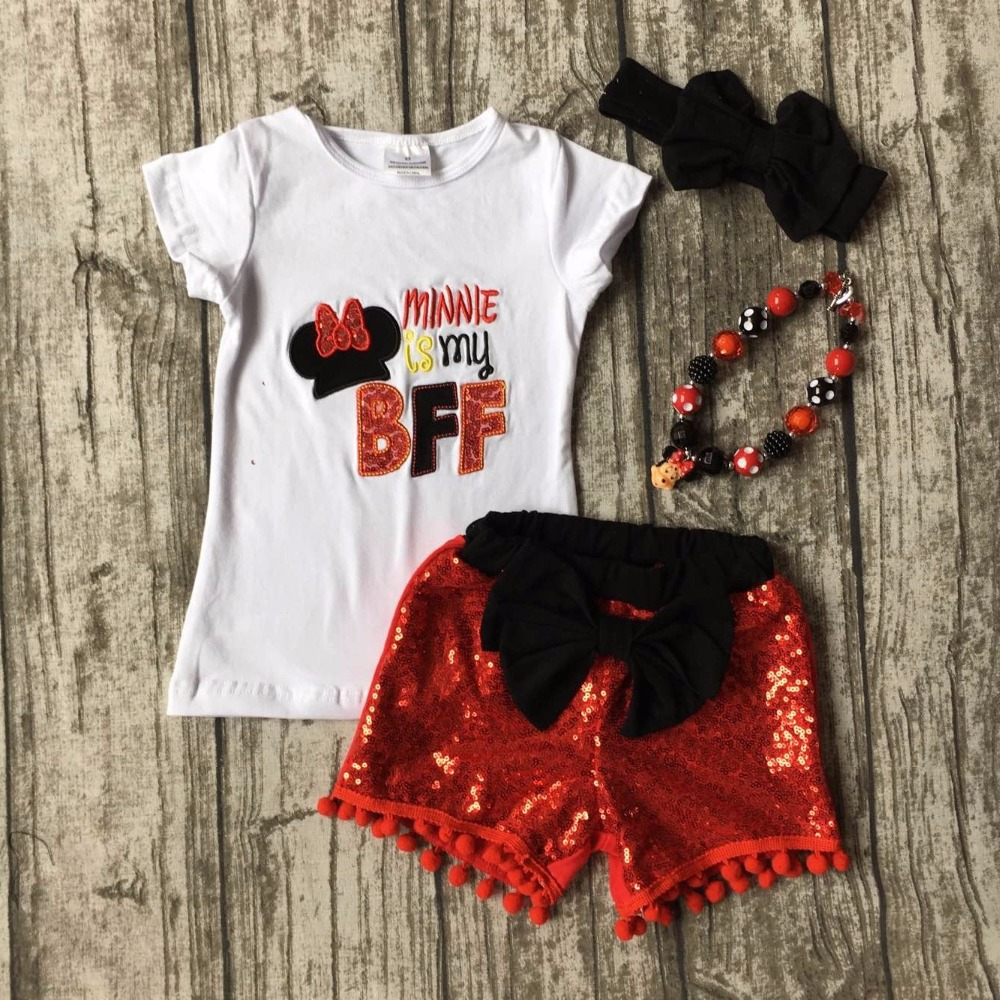 Summer Baby Girls Red Minnie Is My Bff Mouse Sequins Bow