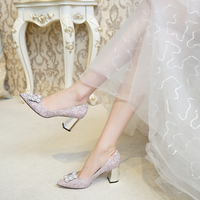 Sequin Crystal Shoes Women Wedding Bride Chunky Silver Heels Coarse Documentary Shoes Women's Middle Heel Party Shoes Lady Pumps