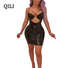 QILI Sexy Women Pu Leather Dress Black Red Sleeveless Strap Hollow Out Mini Dresses Womens Wrap Short Party Club Wear