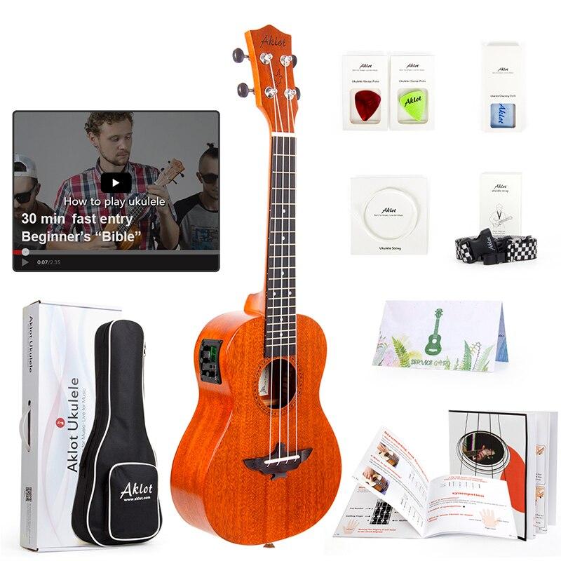 Aklot eléctrico Ukelele sólido de caoba w/Video en línea Ukelele Soprano concierto Tenor Uke de 4 cuerdas de guitarra con correa de cadena sintonizador