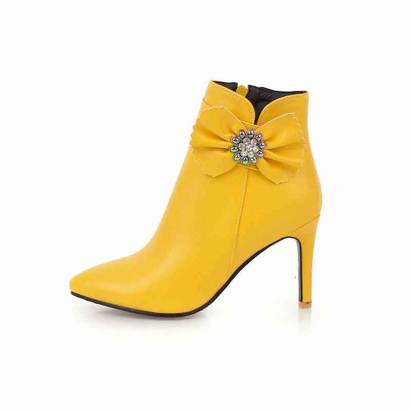 Meotina/осенние ботильоны женские ботильоны на тонком высоком каблуке с кристаллами обувь с острым носком на молнии и бантом женская зимняя обувь белого цвета, большие размеры 33-46