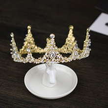 Baroque Gold Wedding Hair Accessories Crystal Tiaras Crowns Handmade Bridal Pageant Princess Round Crowns Hair Jewelry For Women