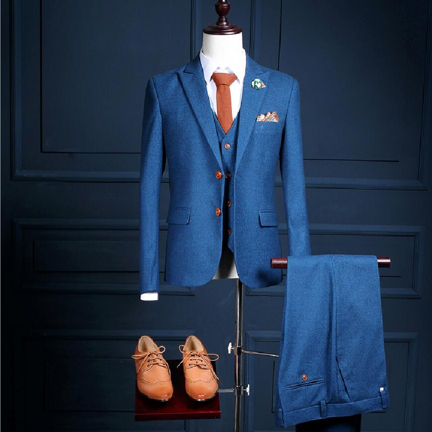 Navy Blue Men's Suits Custom Brand Fashion Suit Blazer Business Formal Slim Fit Men Wedding Prom Groom 3 Piece Jacket+Pants+Vest