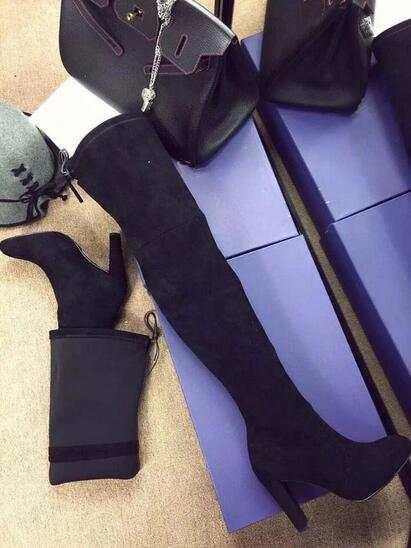 US $135.63 |2016 highland über das knie stiefel wein schwarz grau wildleder oberschenkel hohe stiefel street style frauen lange stiefel klobig high