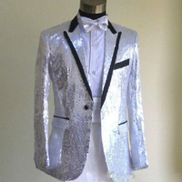 Custom Made Men's Sequin Suit Blazer Singer Stage Performance Coat Dance Prom Club Night Jacket (Jacket+ Bow tie)20180911